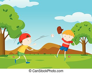 Two boys playing baseball in park