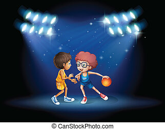 Illustration of the two boys playing basketball at the center of the stage