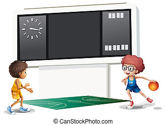 Two boys playing basketball in a court with a scoreboard