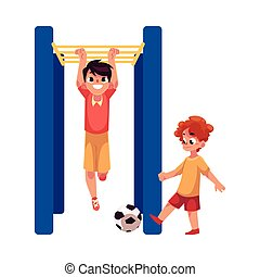 Two boys playing football and hanging on monkey bar at playground