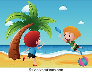 Two boys playing frisbee on the beach