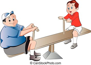 Two Boys Playing on a Seesaw, illustration - Two Boys...