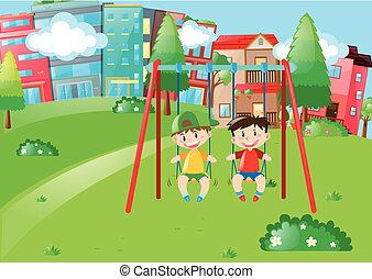Two boys playing on swings in the park