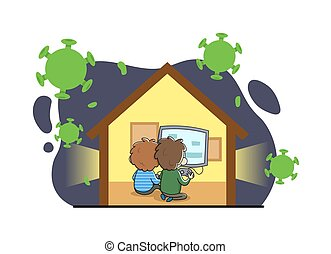 Two boys playing video-games staying at home in quarantine, hiding from virus. Stay home during the coronavirus. Coronavirus outbreak concept. Flat vector illustration, isolated.