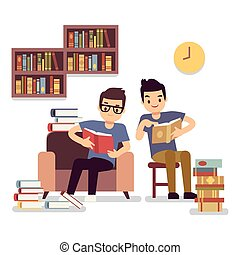 Two boys reading books self-education flat concept