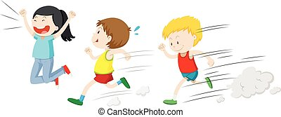 Two boys running in a race