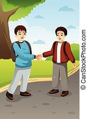 Two Boys Shaking Hands Illustration