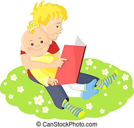 two boys sitting on a green lawn with white flowers and read a book