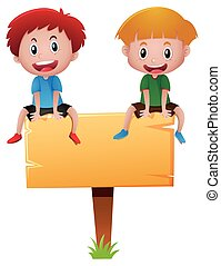 Two boys sitting on wooden sign