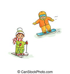 Two boys, skiing and snowboarding, winter sport