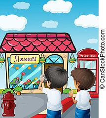 Two boys taking photos near the flower shop - Illustration...