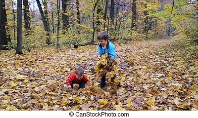 Two boys throwing up autumn leaves