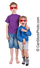 two boys wearing 3D glasses