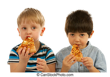 Two Boys with Pizza