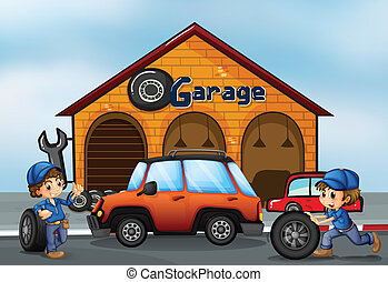 Two boys working at the garage