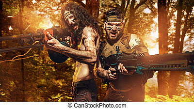 Two brave soldiers holding machine guns