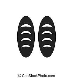 two bread monochrome bakery icon design vector