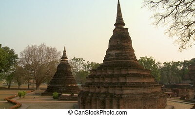 Two brick buildings at Sukhothai Historical park