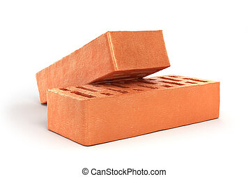Two bricks isolated on a white background. 3d illustration
