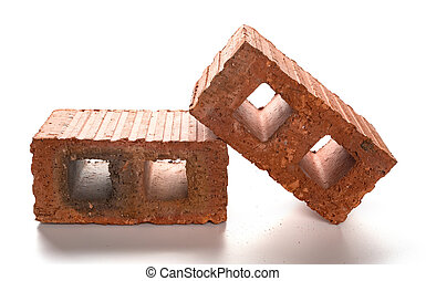 two bricks on a white background