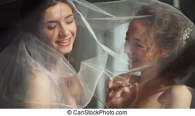Two brides play with a veil in a beautiful side light. - Two...