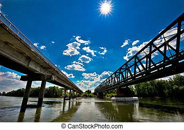 Two bridges on Drava river in Podravina