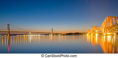 Two bridges over the Firth of Forth - Panorama of the tow...