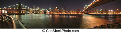 Two bridges with Brooklyn one by night, New York, Panorama