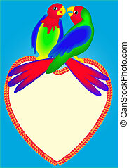 two bright parrots on heart are kissed - illustrations two...