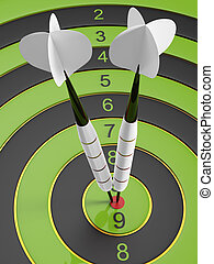 Two bright white darts hitting the bullseye aim. concept of success 3d illustration