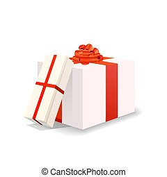 Two bright white gift boxes with red tapes and bows on white