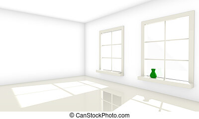 Two bright windows to a room