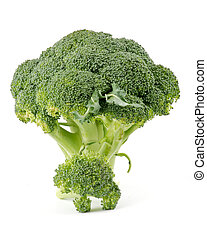 Two broccoli florets isolated on white background
