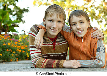 Two brothers in park