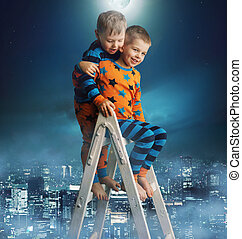 Two brothers on the magic ladder