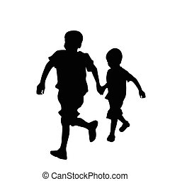 Two brothers running on white background, vector...