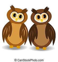 Two brown, awake owls with open eyes looking at each other