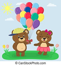 Two brown bears with balloons in the summer glade. Style cartoon.