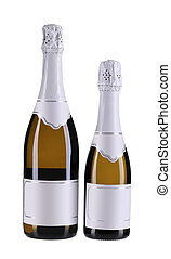Two brown bottles of champagne.