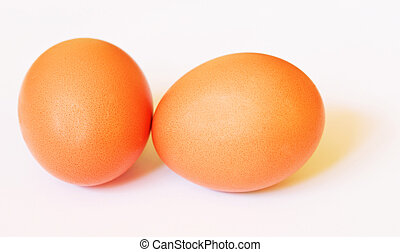 Two brown eggs with soft shadows - Two brown chicken's eggs...