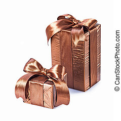 two brown gift boxes isolated