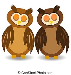 Two brown sleeping owls with closed eyes