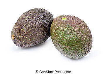 Two brown with green avocados on a white background