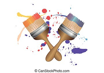 two brushes with splashes of color