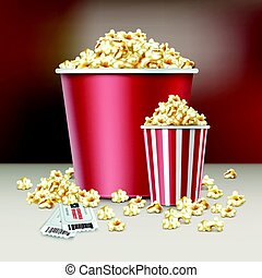 Two buckets of popcorn - Vector two white and red striped...