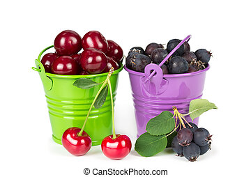 Two buckets with berries