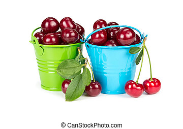Two buckets with cherries