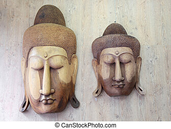 Buddha wood carvings