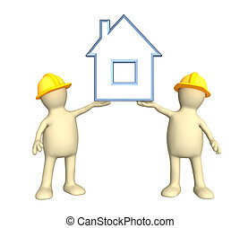 Two builders, holding in hands the stylized house - Two...