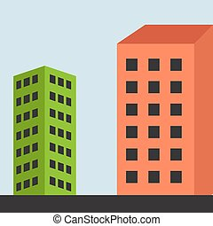 Two buildings, illustration, vector on white background.